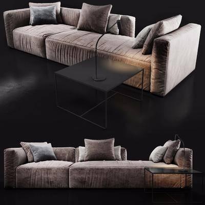 多人沙发, 台灯, 茶几, 布艺沙发, 现代