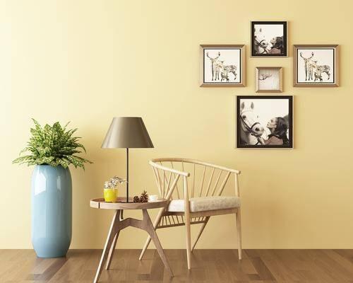 单人椅, 摆件, 绿植, 挂画, 装饰画, 台灯, 北欧