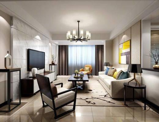 新中式, 客厅, 多人沙发, 单人沙发, 吊灯, 边几, 台灯, 茶几, 电视柜, 装饰品, 挂画