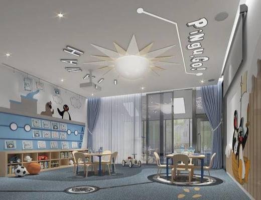 课室, 桌椅组合, 墙饰, 边柜, 吸顶灯