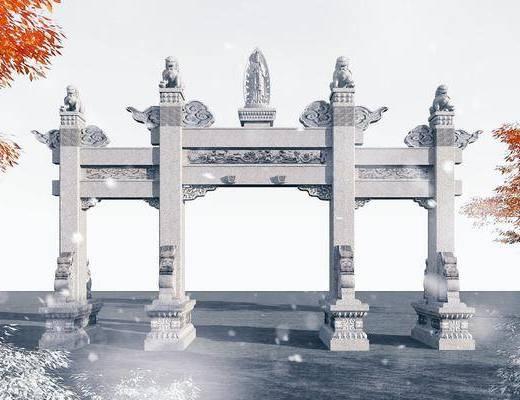 中式牌坊, 中式古建, 中式门楼, 中式门牌