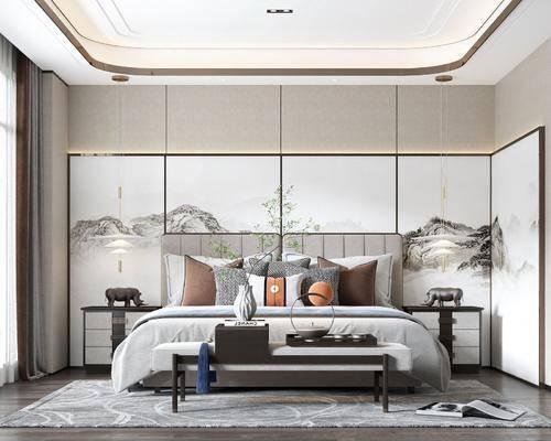 新中式, 卧室, 家装