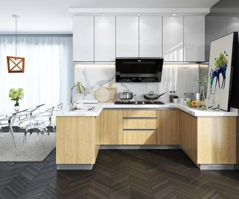 现代厨房, 厨房, 橱柜, 厨具, 餐桌椅, 桌椅