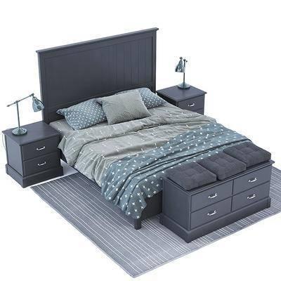 双人床, 床尾柜, 床头灯, 边柜, 地毯, 枕头, 被子, 布艺, 现代