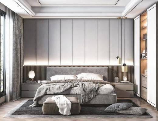 雙人床, 吊燈, 衣柜