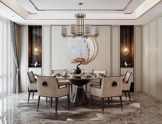 餐桌, 桌椅组合, 墙饰, 吊灯, 餐具组合