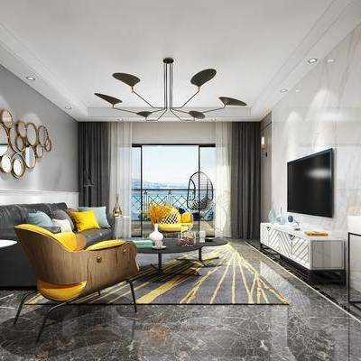 多人沙发, 单人沙发, 边柜, 边几, 现代, 摆件, 吊灯