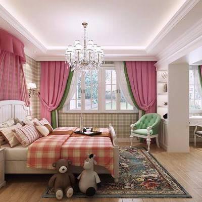 儿童房, 双人床, 床头柜, 壁灯, 吊灯, 装饰架, 摆件, 单人沙发, 装饰品, 现代