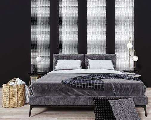 双人床, 床头吊灯, 床头柜, 床品, 摆件