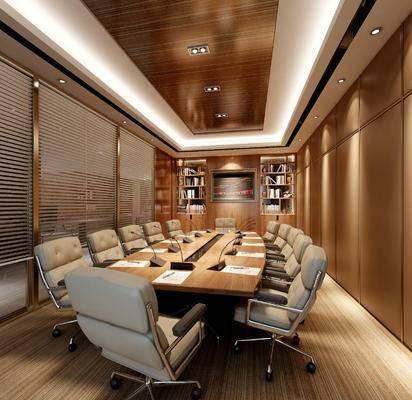现代, 简约, 会议室, 工装