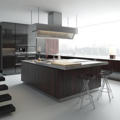 厨房, 橱柜, 电动, 洗手台, 现代