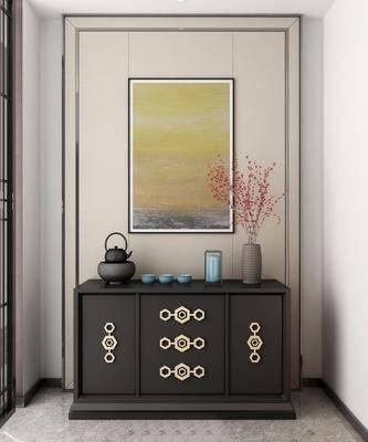 端景台, 装饰柜, 边柜, 装饰画, 挂画, 摆件, 茶具, 中式