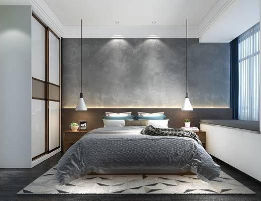现代, 卧室, 双人床, 灯具