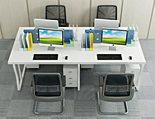 办公桌, 办公椅, 单人椅, 电脑, 现代