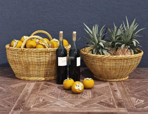 藤篮, 水果, 酒瓶