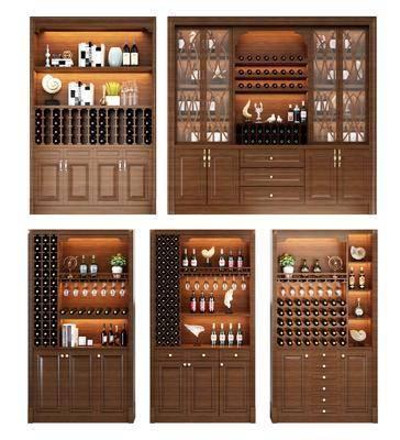 酒柜, 装饰边柜, 酒瓶, 现代