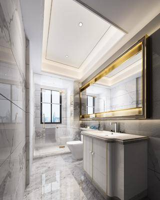 卫生间, 洗手台, 马桶, 摆件, 现代