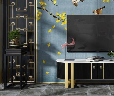 电视背景墙, 电视柜, 装饰柜, 边柜, 装饰架, 装饰品, 陈设品, 新中式