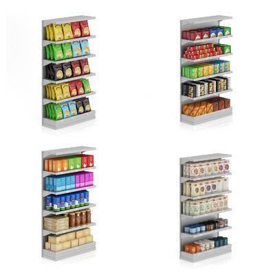 超市货架, 摆件, 现代