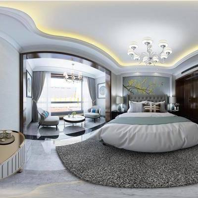 整套, 全景, 客厅, 餐厅, 卧室, 卫生间