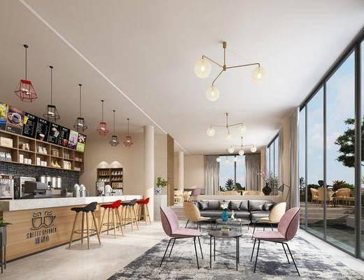 咖啡厅, 现代咖啡厅, 桌椅组合, 吧台, 吧椅, 前台, 现代