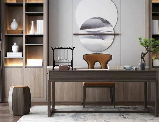 书房, 茶桌, 单人椅, 墙饰, 书籍, 摆件, 装饰品, 陈设品, 凳子, 盆栽, 新中式