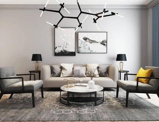 沙发, 沙发组合, 新中式沙发, 茶几, 装饰画, 沙发茶几组合, 新中式