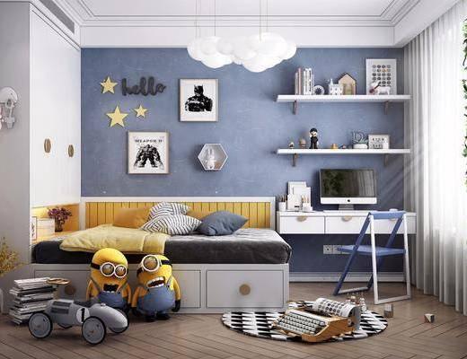 北欧儿童房, 儿童房, 卧室, 单人床