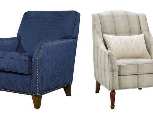 单人沙发组合, 布艺沙发, 美式