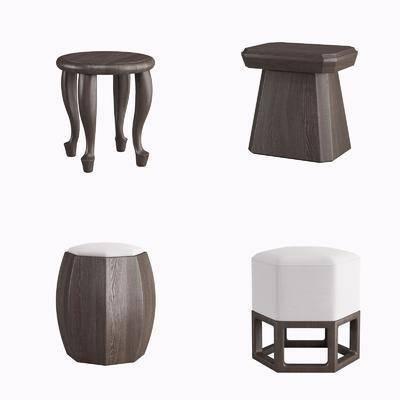实木凳子, 凳子, 新中式