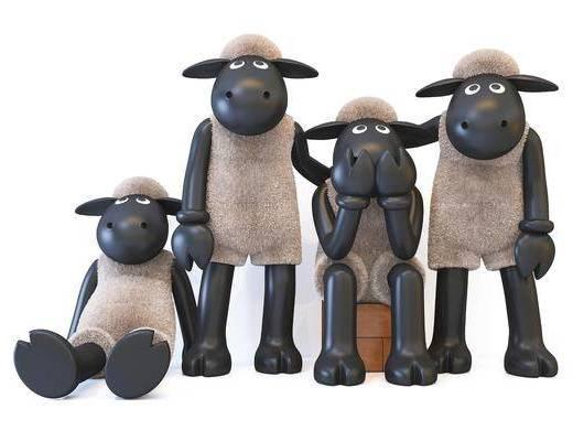 现代风格小羊肖恩摆件