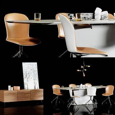办公桌, 桌椅组合, 摆件组合, 边柜