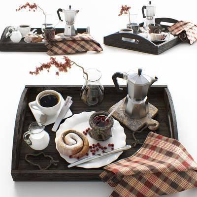 托盘, 咖啡, 糖, 咖啡壶, 花瓶, 现代, 北欧, 田园