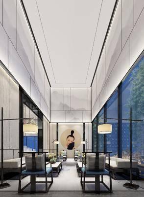 接待室, 多人沙发, 茶几, 落地灯, 单人沙发, 装饰画, 挂画, 摆件, 装饰品, 陈设品, 新中式