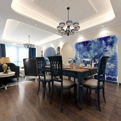 地中海风格, 客厅, 餐厅, 餐桌椅, 沙发组合
