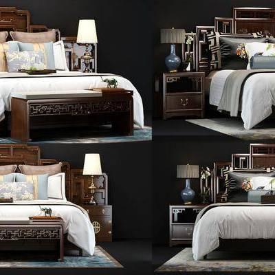 双人床, 台灯, 边柜, 抱枕枕头, 尾凳, 实木, 中式