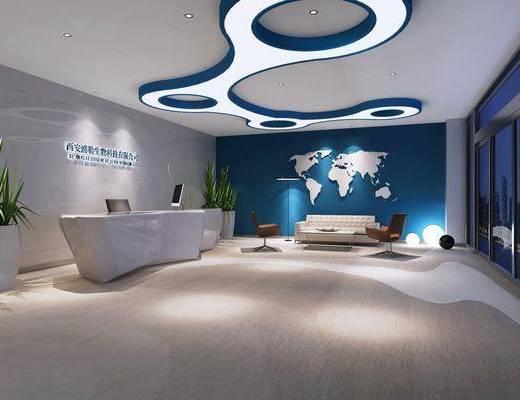 公司, 大厅, 前台, 接待, 植物, 盆栽, 沙发, 单椅, 休闲椅, 墙饰, 现代