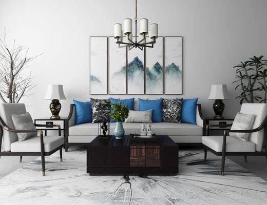 沙发, 茶几, 挂画, 装饰画, 植物, 盆栽, 台灯, 吊灯, 瓷器, 摆件, 装饰品, 单椅, 新中式