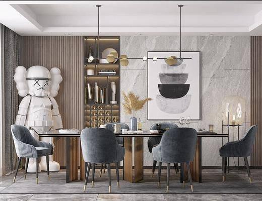 现代餐桌椅组合, 吊灯, 沙发椅, 餐桌