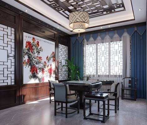 桌椅组合, 吊灯, 背景墙