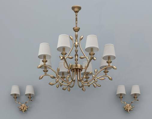 金属吊灯, 壁灯组合, 多头吊灯, 现代奢华