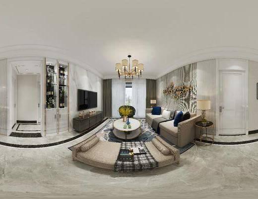 客廳, 餐廳, 家裝全景, 沙發組合, 沙發茶幾組合, 墻飾, 吊燈, 邊柜組合, 掛畫組合, 現代