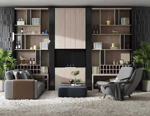 沙发组合, 多人沙发, 茶几, 单人沙发, 装饰柜, 盆栽, 绿植植物, 书籍, 摆件, 装饰品, 陈设品, 现代