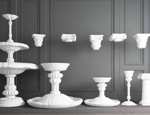 罗马石柱, 喷泉, 石膏柱
