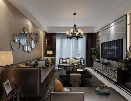 现代客厅, 现代餐厅, 客厅, 餐厅, 沙发茶几, 电视柜, 吊灯, 墙饰, 台灯, 餐桌, 椅子, 置物柜, 摆件, 花瓶