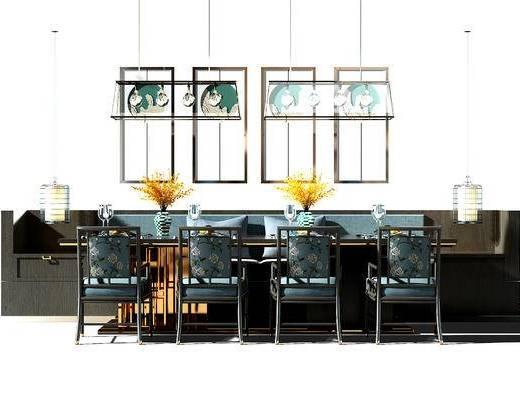 餐桌, 桌椅, 桌椅组合, 餐桌椅组合, 吊灯, 卡座, 新中式, 中式