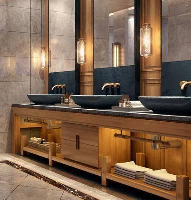 新中式淋浴区, 淋浴区, 洗手盘, 新中式
