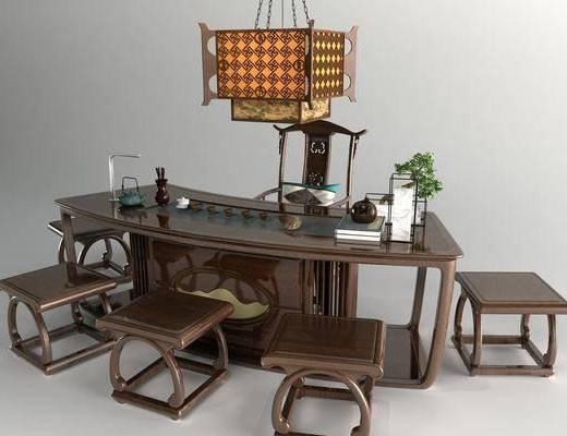 新中式, 辦公桌, 凳子, 椅子, 吊燈