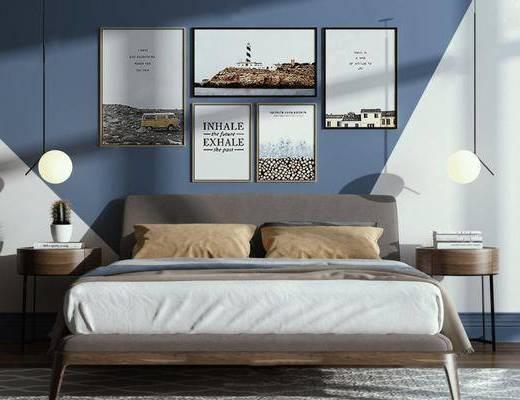 北欧卧室, 双人床