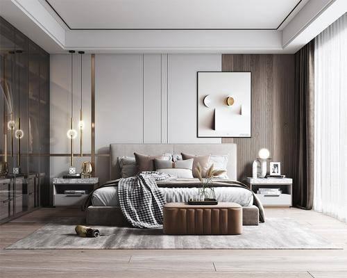 现代卧室, 双人床, 挂画, 吊灯, 床头柜